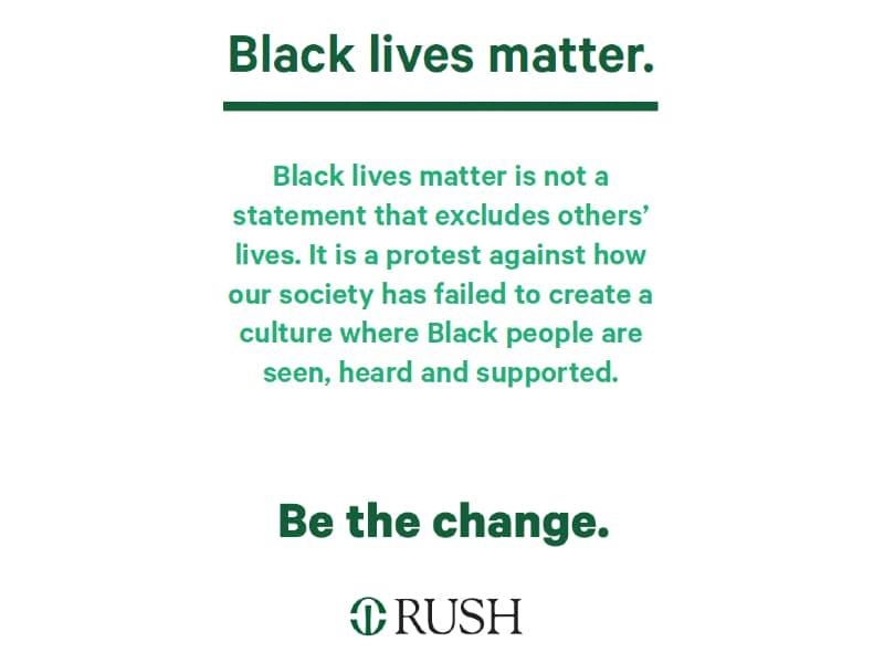 Black lives matter printout with explanatory statement