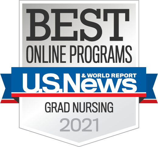 U.S. News Best Online Programs badge - Grad Nursing 2021