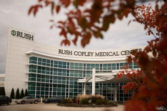 Rush Copley Medical Center campus, with fall colors