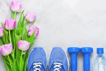 Tulips with exercise equipment